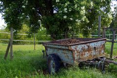 Abandoned old rusty tractor, car body and farm trailers sitting under a tree in green grass field of a Horse Pasture. stock image