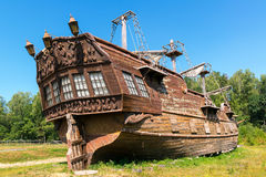 Abandoned old sailing ship. On the ground Royalty Free Stock Photography