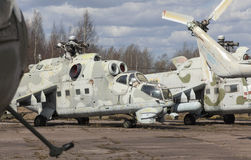 Abandoned old Soviet military chopper Royalty Free Stock Photography