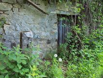 Abandoned Stone Cottage, Overgrown With Weeds, Greece. An abandoned old stone rough rendered houses or cottage in a Greek mountain village, overgrown with weeds Royalty Free Stock Photo