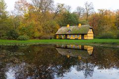 Abandoned old timbered house in Charlottenlund. Old timbered house in Charlottenlund, Denmark. Photo taken in public park stock photos