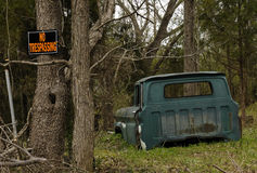 Abandoned Old Truck In the Woods Stock Photo