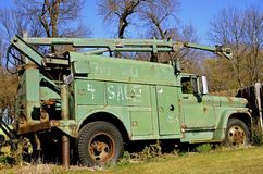 Abandoned old utility truck Stock Photos