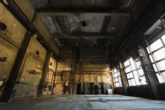 Abandoned old vehicle repair station, interior Royalty Free Stock Photo