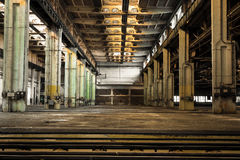 Abandoned old vehicle repair station, interior Royalty Free Stock Images