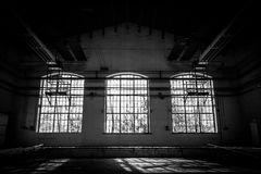 Abandoned old vehicle repair station interior Royalty Free Stock Images