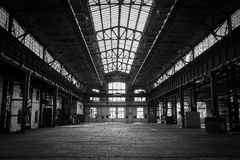 Abandoned old vehicle repair station interior Royalty Free Stock Photo
