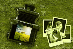 Abandoned old vintage medium format photo camera Stock Images