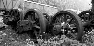 Abandoned old wheels of a train Stock Photos