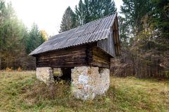 Abandoned old wooden house Cabin in the woods in Slovenia. Stock Images