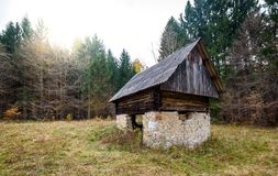 Abandoned old wooden house Cabin in the woods in Slovenia. Stock Image