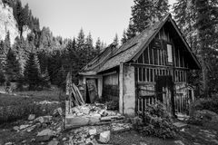 Abandoned old wooden house royalty free stock photo