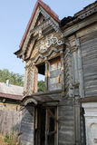 Abandoned old wooden house in Russian province Stock Photos