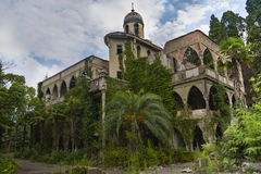 Abandoned and overgrown mansion in oriental style. Concept of Tale 1001 nights Royalty Free Stock Photos