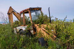 Abandoned and owergrown digger Stock Photography