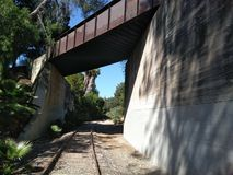 Abandoned Pacific Electric Railroad Tracks in Fullerton California. Abandoned Railroad Tracks and Bridge stock images