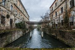 Abandoned Paper Factory With River Stock Image