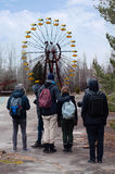 Abandoned park in Pripyat, Chernobyl. Abandoned ferris wheel in amusement park in Pripyat, Chernobyl area. This Ferris wheel became a symbol of the place Royalty Free Stock Photos