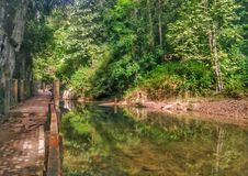 An abandoned path in Bukit Wang Waterfall Royalty Free Stock Images