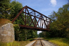Abandoned Pennsylvania Railroad trestle. This is an abandoned railroad trestle once used by the famous Pennsylvania RR. The lower tracks are those belonging to stock photography