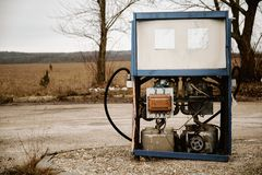 Abandoned petrol station. Abandoned fuel pump in petrol station stock images