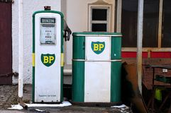 Abandoned petrol station. In german countryside with old logo of British Petroleum, with german inscriptions: `gasoline` and `smoking prohibited royalty free stock images