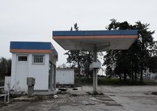 Abandoned petrol station. Old system royalty free stock photo