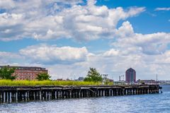 An abandoned pier in Fells Point, Baltimore, Maryland.  royalty free stock photo