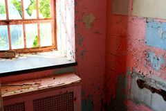 Abandoned Pink hospital room Royalty Free Stock Photo