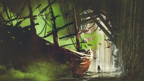 Abandoned pirate ship in waterfall cave. A pirate who has found the abandoned ship with green smoke in waterfall cave, digital art style, illustration painting Stock Photos