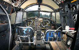 Abandoned plane cockpit. Interior of a very old, abandoned plane Stock Images