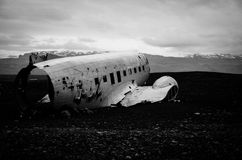Abandoned plane. An abandoned crashed plane on the beach on Iceland Royalty Free Stock Photography