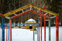 Abandoned playground in winter Stock Photo