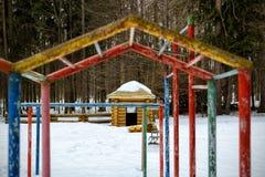 Abandoned playground in winter Stock Photo