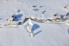 Abandoned polar station - aerial view Royalty Free Stock Photo