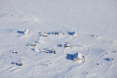 Abandoned polar station - aerial view Stock Photos