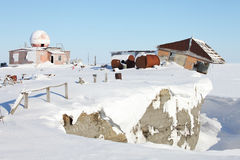 Abandoned polar station Stock Photos