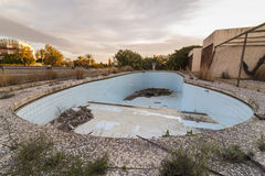 Abandoned pool. Pool of an old abandoned hotel stock images