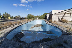 Abandoned pool. Pool of an old abandoned hotel Royalty Free Stock Photo