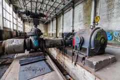 Abandoned power plant inventory. Inside the abandoned power plant Stock Photos
