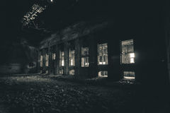 Abandoned power plant. Light from above Stock Photography