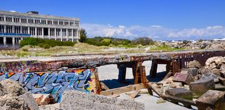 Abandoned Powerhouse with Breakwater: Tagging in Fremantle, Western Australia stock photo