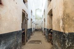 Abandoned Prison in Salvation& x27;s Islands, French Guiana. Isolation cells inside a penal colony at Ile Royale, one of the islands of Iles du Salut & x28 Stock Images