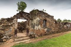 Abandoned Prison in Salvation`s Islands, French Guiana. Ruins of former penal colony at Ile Royale, one of the islands of Iles du Salut Islands of Salvation in Royalty Free Stock Photo