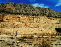 Abandoned quarry, deserted marble pit, rocky mountain Stock Photo