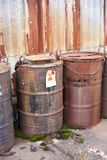 Abandoned radioactive waste. Radioactive waste stored in barrels Royalty Free Stock Image