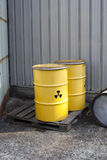 Abandoned radioactive waste. Radioactive waste stored in barrels Stock Image