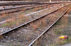 Abandoned rail tracks. Abandoned rails tracks in small town Royalty Free Stock Photos
