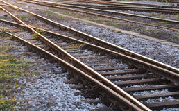 Abandoned rail tracks. Abandoned rails tracks in small town Royalty Free Stock Photography