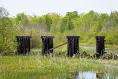 Abandoned railroad bridge beams in the Northwoods of Hayward, WI. During spring stock photos